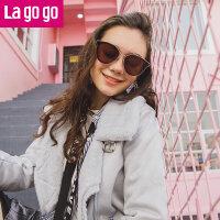 【清仓3折价159.9】Lagogo/拉谷谷2019年冬季新款时尚小立领斜门襟外套
