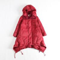 冬装女韩版中长款羽绒服可脱卸连帽领斗篷A字显瘦毛呢拼接外套yr