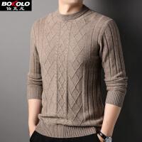 伯克龙男士纯羊毛衫 秋冬季新款100%羊毛针织衫男装韩版青中老年套头圆领毛衣 Z8092