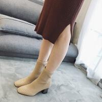 2018新款秋冬方头粗跟弹力短靴单靴毛线针织高跟鞋女踝靴子马丁靴