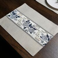 双层中式织带棉麻餐垫防烫隔热垫布艺餐垫杯垫餐桌垫盘垫茶垫碗垫 1#白色 浅蓝织带