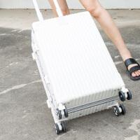 复古铝框行李箱女24寸旅行箱20登机箱PC拉杆箱万向轮男密码26箱包SN8442 白色 008定制款