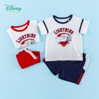 迪士尼Disney童装 男童纯棉套装中小童圆领肩开短袖T恤运动风短裤夏季新品舒适透气衣服