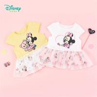 【3件3折到手价:51.3】迪士尼(Disney)童装 女童T恤网纱拼接上衣2020年夏季新品米妮印花短袖儿童半包袖衣