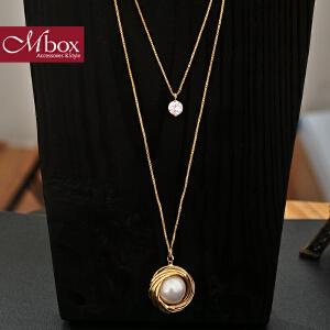 新年礼物Mbox毛衣项链 女长款百搭韩国版秋冬采用精选贝珍珠项链 爱在心间