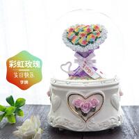 玫瑰花水晶球雪花音乐盒八音盒创意生日礼物送女友女生情人节礼物 彩虹玫瑰:内含文字:Happy valentine