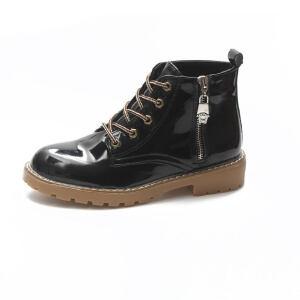 WARORWAR新品YM37-510冬季中性漆皮平底舒适女士靴子马丁靴短靴