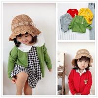 潮萌仙人掌 女宝宝纯棉毛衣线衫1-3-6岁男女童毛衣潮空调衫薄外套