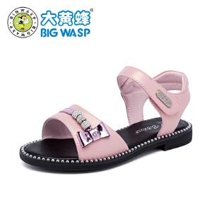 大黄蜂童鞋 女童凉鞋 2018新款夏季小公主韩版软底儿童鞋子高跟