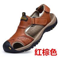 新款夏季凉鞋男真皮包头沙滩鞋牛皮防滑户外透气百搭日常休闲男鞋 38 标准皮鞋码