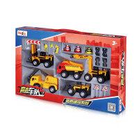 美驰图高高车队工程车模型玩具套装儿童玩具挖土机车队男孩礼 路桥建设 A系列 带风炮车042
