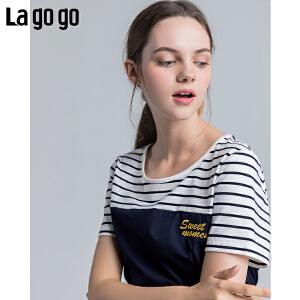 Lagogo2018夏季新款韩范学院风上衣甜美chic短袖圆领条纹T恤女HASS354A10