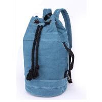 男士双肩包男女韩版帆布水桶包书包篮球包个性旅行背包健身包 孔雀蓝 大号