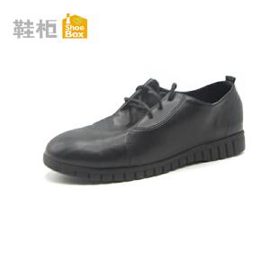 达芙妮集团 鞋柜圆头软皮系带舒适单鞋女