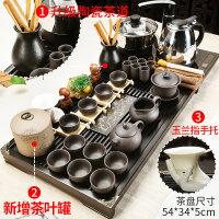 紫砂功夫茶具套装家用陶瓷茶壶茶杯电热磁炉茶台茶道实木茶盘 jk5
