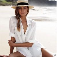 欧美人棉口袋衬衫沙滩罩衫宽松显瘦长袖比基尼外搭泳衣外套沙滩衣