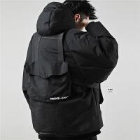 冬季工装棉衣男宽松可拆卸多口袋机能战术科技感外套