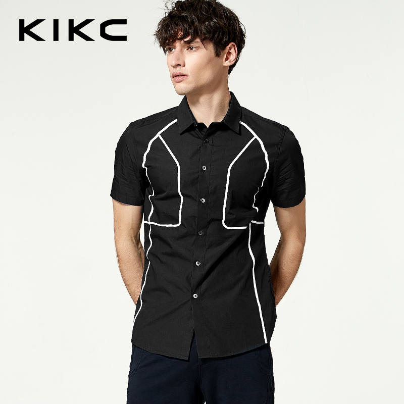 kikc短袖休闲衬衫男2018夏印花时尚修身衬衣男