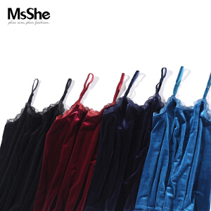 MsShe大码女装2017新款秋装复古风丝绒吊带背心打底M1730283