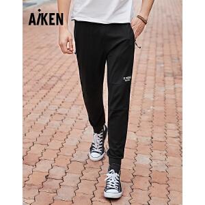 森马旗下Aiken爱肯2018夏新款弹力运动宽松薄黑色男士印花个性街头休闲裤 黑色