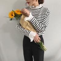 春装2018新款韩版条纹打底衫套头上衣显瘦木耳边拼接喇叭袖t恤女