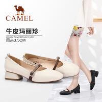 Camel/骆驼女鞋 2018春季新款 复古方头粗跟单鞋时尚简约浅口中跟鞋女