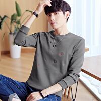男生卫衣秋款圆领套头男士宽松刺绣上衣学生男长袖t恤韩版