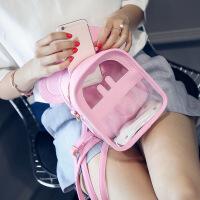 韩版潮流女包透明双肩包女水晶果冻包米奇休闲卡通背包女 米白色