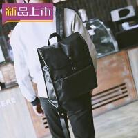 2018韩版男双肩包商务英伦男士背包休闲皮包电脑包学生书包潮男旅行包 黑色