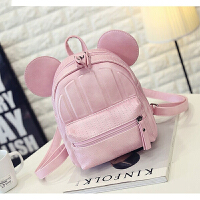 韩版潮米奇女包双肩包迷你双肩背包时尚小背包休闲旅行包s6 粉色
