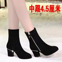 靴子女秋冬2018新款磨砂小短靴女中跟马丁靴粗跟中筒高跟女鞋 黑色 中跟4.5