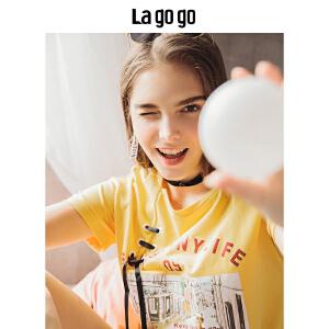 Lagogo2018夏季新款气眼绑带图案女T恤宽松圆领短袖复古上衣潮HATT315A05
