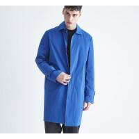 冬季冬新款风衣 欧美风衣男中长款工装外套清 宝蓝色