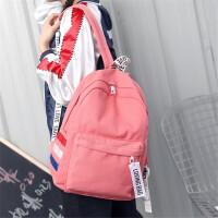 简约纯色帆布双肩包女日韩版潮百搭学院风书包中学生休闲旅行背包
