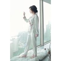 睡衣女秋日系和服套装女棉中国风汉服女甜美系带睡衣月子服长袖 均码