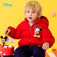 【2件3折到手价:135】迪士尼Disney童装 男女童连帽羽绒服冬季新品米奇米妮卡通印花外套防寒保暖194S1202