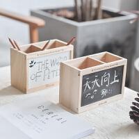 三年二班原木黑板笔筒创意办公用学生文具桌面收纳盒带粉笔黑板擦