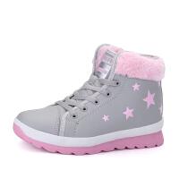 冬季厚底大棉鞋女中学生加绒运动鞋保暖皮面防水雪地靴休闲短靴黑