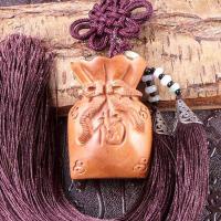 福袋钥匙扣工艺装饰品桃木钱袋车挂件木雕