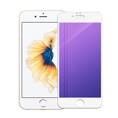 iPhone6s钢化膜苹果6sPlus全屏覆盖抗蓝光高清手机贴膜 全屏雪域白紫光(软边) 4.7英寸-苹果6/6s