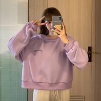 紫色套头卫衣女冬秋季薄款2020新款网红宽松长袖日系古着盐系上衣