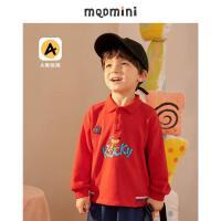 【2件3折后价:120】MQD童装2021秋装新款男小童翻领POLO卫衣休闲图案男宝宝运动上衣