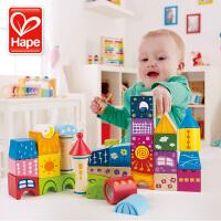 德国Hape 童话城堡大颗粒木制积木宝宝益智玩具1-2周岁儿童男女孩