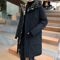 男士羽绒服2018新款韩版潮流帅气加厚中长款男款冬装冬季外套男潮 KN5500黑色