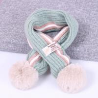 儿童围巾秋冬季宝宝围脖韩版小孩脖套毛球可爱男女童婴儿毛线围巾 1-12岁