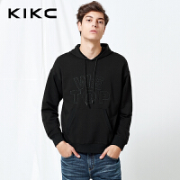 【商场同款】kikc连帽卫衣男2018春季新款黑色潮流贴布长袖上衣男
