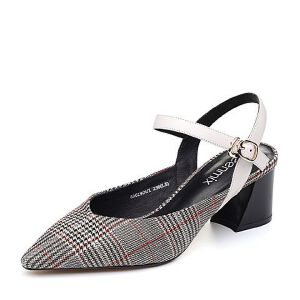 Teenmix/天美意2018夏纺织品/牛皮革通勤风格纹粗跟女凉鞋88019BH8