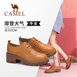 Camel/骆驼女鞋 2018秋季新款时尚布洛克雕花真皮舒适粗跟单鞋