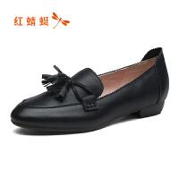 【领�涣⒓�150】红蜻蜓女鞋2019新款方头浅口平底单鞋小香风软底奶奶鞋潮