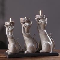 欧式创意美式复古田园猫咪香薰蜡烛台餐厅餐桌装饰品礼物烛台摆件